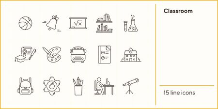 Classroom line icon set. Subject, homework, knowledge. Education concept. Can be used for topics like studying, school, college