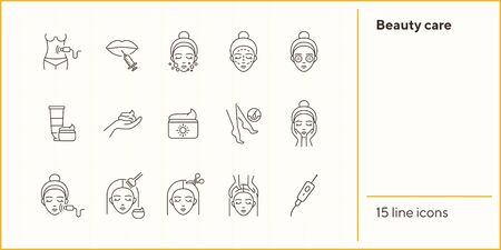 Beauty care line icon set. Woman, cream, hairdressing. Beautician concept. Can be used for topics like beauty salon, self care, rejuvenation Ilustración de vector