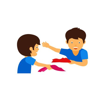 Icon of children playing with kerchiefs. Game, friend, joy. Fun concept. Can be used for topics like leisure, childhood, activity