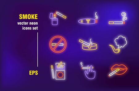 Smoking neon signs collection. Cigarette, tobacco and pipe. Vector illustrations for night bright advertisement. Unhealthy and bad habits concept Vettoriali