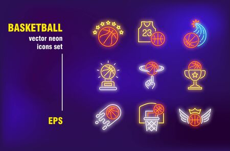 Basketball neon signs collection. Ball, basket and goblet. Vector illustrations for bright billboards. Sport game and entertainment concept