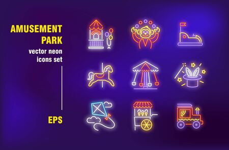Amusement park set in neon style. Clown, carousels and magician show. Vector illustrations for bright signboards. Entertainment and holiday concept