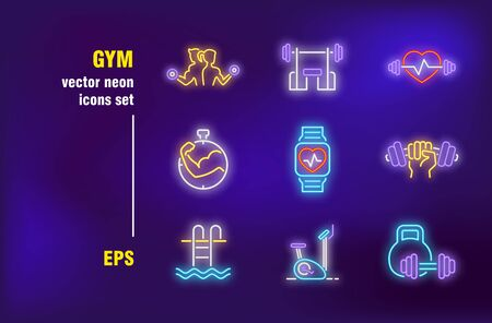 Gym neon signs set. Weight lifting, exercising, barbells, dumbbells, cardio monitor, fitness club. Night bright advertising. Vector illustration in neon style for banners, posters, flyers design