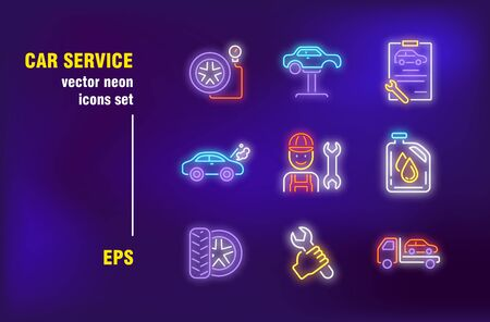 Car repair neon signs set. Garage, mechanic, tool, spanner, tire, tow truck. Night bright advertising. Vector illustration in neon style for roadside service billboard, banners, signboards