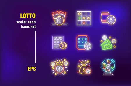Casino and lotto set in neon style. Glowing dollars, crown and lottery. Vector illustrations for night bright advertisement. Gambling and casino game concept