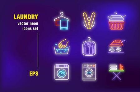Laundry set in neon style. Clothes, washing machine and smoothing iron. Vector illustrations for bright banners. Washing and cleaning concept