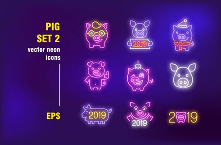 Pig neon signs collection. Illuminated Boar, hog and pork. Vector illustrations for bright billboards. Chinese New Year and farm animals concept