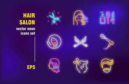 Hair salon in neon signs set. Scissors, curls and haircut. Vector illustrations for bright banners. Beauty and appearance concept