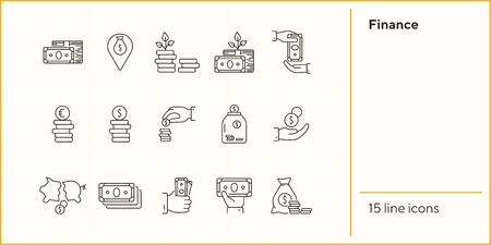 Finance icons. Line icons collection on white background. Payment, saving, coin stack. Money concept. Vector illustration can be used for topic like business, banking, economy Illusztráció