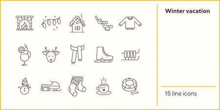Winter vacation line icon set with ice skates and sledges. Christmas stocking, ice hockey, hot cocoa. Hello winter concept. Can be used for topics like New year, holidays, outdoor activity Illustration
