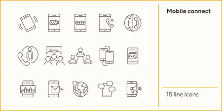 Mobile connect icons. Set of line icons. Phone battery, mobile map, promo action. Mobile phones concept. Vector illustration can be used for topics like communication, technology, connection