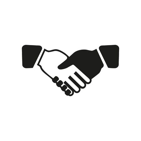 Simple icon of handshake. Partnership, success, deal. Business training concept. Can be used for topics like business, relationships, cooperation Zdjęcie Seryjne