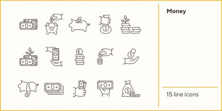 Money icons. Line icons collection on white background. Banknotes, currency, earning. Investment concept. Vector illustration can be used for topic like business, finance, banking