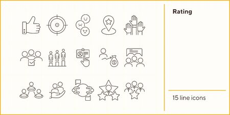 Rating icons. Set of line icons. Good choice, best worker, employees rate. Customer feedback concept. Vector illustration can be used for topics like business, internet, networking