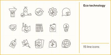 Eco technology icons. Set of line icons. Speechbubble, planet, label. Eco technology concept. Vector illustration can be used for topics like ecology, technology, environment Иллюстрация