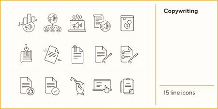 Copywriting line icons. Set of line icons. Paper with pencil, book. Freelance concept. Vector illustration can be used for topics like work, business