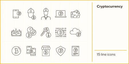 Cryptocurrency icons. Line icons collection on white background. Bitcoin website, password, e-wallet. Mining concept. Vector illustration can be used for topic like finance, internet, banking