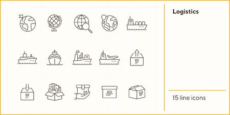 Logistics line icon set. Worlwide export and packaging concept.Vector illustration can be used for topics like marine, transportation, export Иллюстрация