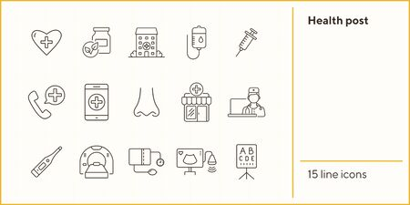 Health post icons. Set of line icons. Online doctor app, tomography, tonometer. Health checkup concept. Vector illustration can be used for topics like medicine, healthcare, medical service Иллюстрация