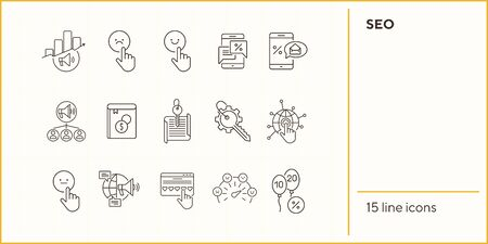 SEO line icons. Set of line icons. Mobile in hand, balloons with numbers. Finance concept. Vector illustration can be used for topics like banking, business