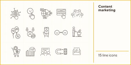 Content marketing icons. Set of line icons. Mobile in hand, balloons with numbers. Finance concept. Vector illustration can be used for topics like banking, business Иллюстрация