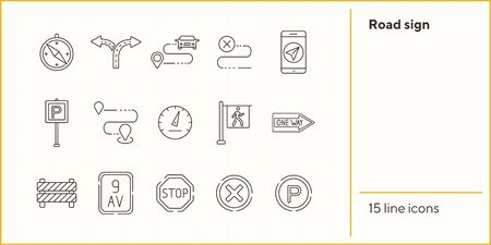 Road sign icons. Compass, split arrow, destination. Road sign concept. Vector illustration can be used for topics like traffic, road marking, traffic striping Иллюстрация