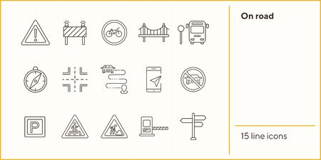 On road line icons. Set of line icons. Compass, bus stop, route. Traffic concept. Vector illustration can be used for topics like navigation, travelling