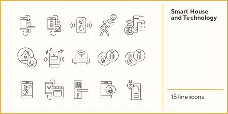 Smart House and Technology vector icon set. Thin line contours. Smart house concept. Flat illustration can be used for web design, interface, mobile application, infographics, advertising