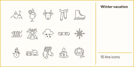 Winter vacation line icon set with mountains and mulled wine. Christmas reindeer, scarf, ice skates. Hello winter concept. Can be used for topics like New year, holidays, outdoor activity Иллюстрация