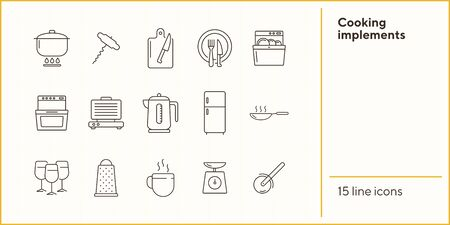 Cooking implements icons. Set of line icons. Frying pan, grater, stove. Culinary concept. Vector illustration can be used for topics like restaurant business, cooking Иллюстрация