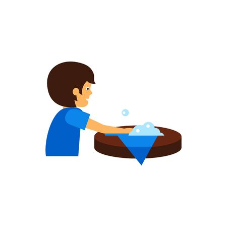 Icon of man wiping out spill on table. Housework, chores, cleaning. Handkerchief style concept. Can be used for topics like housekeeping, hygiene, cleaning products