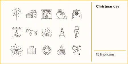 Christmas day thin line icon collection. Fireplace, Christmas wreath, garland sign pack. Winter holidays concept. Vector illustration symbol elements for web design and apps Illustration