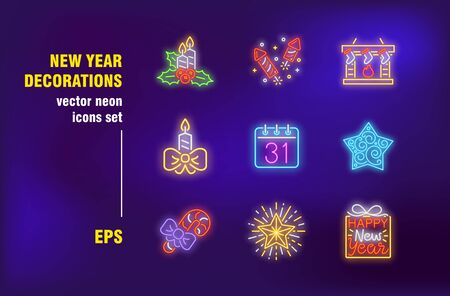 New Year decorations neon signs collection. Candle, star, fireworks and socks. Vector illustrations for bright banners. Celebration and season holiday concept