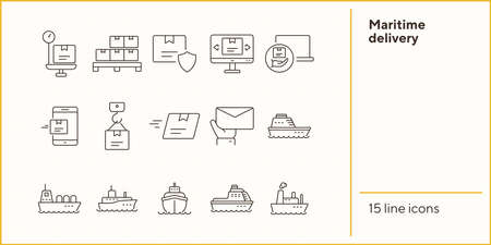 Maritime delivery icons. Set of line icons. Parcel security, storage, ship. Export concept. Vector illustration can be used for topics like shipping, logistics, transportation Ilustrace