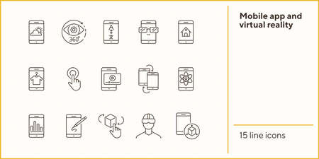 Mobile app and virtual reality line icon set. Technology concept. Vector illustrations can be used for topics like internet, modern technology, computer systems