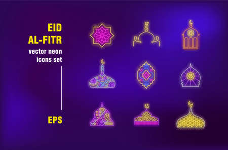 Eid al-Fitr collection in neon style. Muslim, celebration and tradition. Vector illustrations for luminous banners. Faith, holiday and religion concept