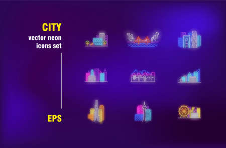 City neon signs set. Skyscraper, bridge, town and city park. Vector illustrations for luminous billboards. Cityscape and building concept