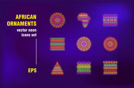 African ornaments set in neon style. Line, symbol, geometric pattern and abstract element. Vector illustrations for night bright advertisement. Modern design and decoration concept Ilustrace