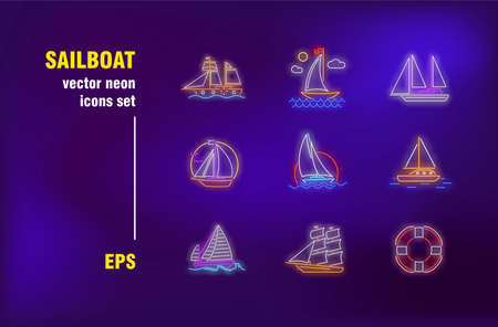 Sailboats collection in neon style. Sea, ocean, sail and voyage. Vector illustrations for bright banners. Travelling, trip, adventure and activity concept