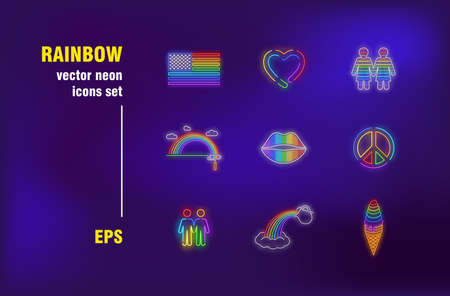 Rainbow neon signs collection. Illuminated symbol, liberty and choice. Vector illustrations for bright billboards. Relations, tolerance and homosexuality concept