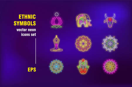 Ethnic symbol neon signs collection. Illuminated floral patterns, animal and lotus. Vector illustrations for bright billboards. Tradition and lifestyle concept