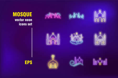 Mosque set in neon style. Muslim, worship and crescent. Vector illustrations for night bright advertisement. Faith, building and religion concept