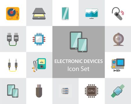 Electronic devices icon set. Smartphone, laptop, camera, printer, cpu, server. Information technology concept. Can be used for topics like hardware, smart technology, data communication 스톡 콘텐츠
