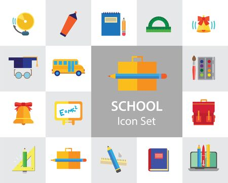 School icon set. Book, bell, laptop, bag, graduation cap. Studying concept. Can be used for topics like education, scholarship, learning 版權商用圖片