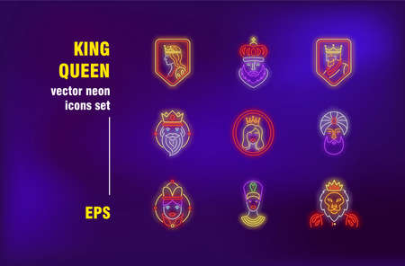 Kings and queens neon signs set. Royal person, lion head, crown, tsar, princess, sultan. Night bright advertising. Vector illustration in neon style for banner, poster, flyer design