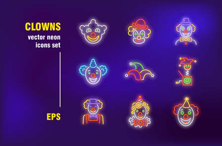 Clowns neon signs set. Performer, comic actor, scary monster, comedy person, carnival. Night bright advertising. Vector illustration in neon style for circus ticket, festive banners, posters design