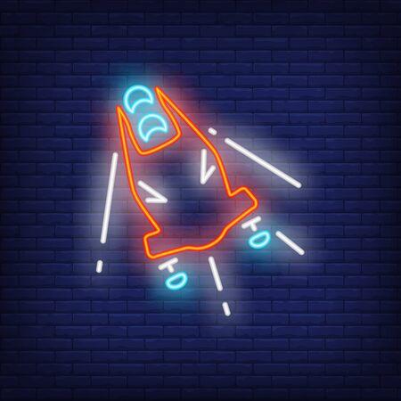 Red bobsleigh neon sign. Glowing bob with sport team on dark blue brick background.