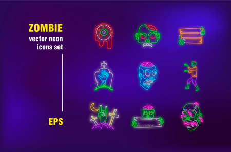 Zombie neon signs collection. Illuminated monster, eye and comb. Vector illustrations for bright billboards. Halloween and creature concept