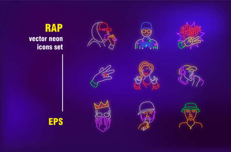 Rap collection in neon style. Cap, singer and battle. Vector illustrations for luminous banners. Entertainment and music concept Çizim