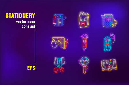 Stationery collection in neon style. Pen, school, book and accessory. Vector illustrations for bright bar banners. Study, learning and education concept Stock fotó - 150646976